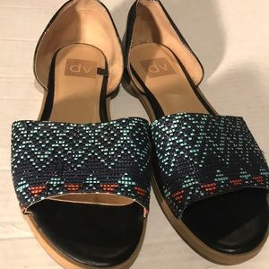 DV by Dolce Vita Flat Sandal Navy and turquoise